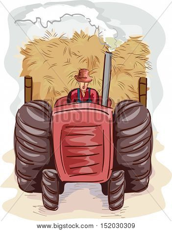 Illustration of a Farmer in Overalls and a Straw Hat Driving a Large Tractor Carrying Big Piles of Hay