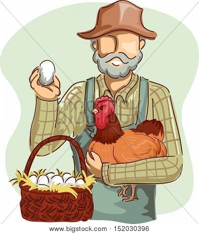 Illustration of a Farmer in Overalls and a Straw Hat Holding an Egg in One Hand and Clutching a Chicken with the Other