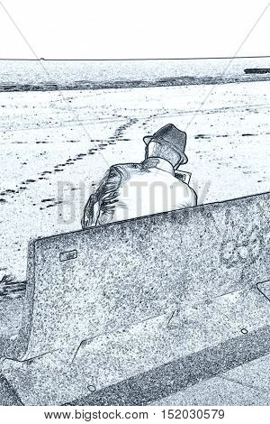 Man Reding Newspaper On Bench At Beach