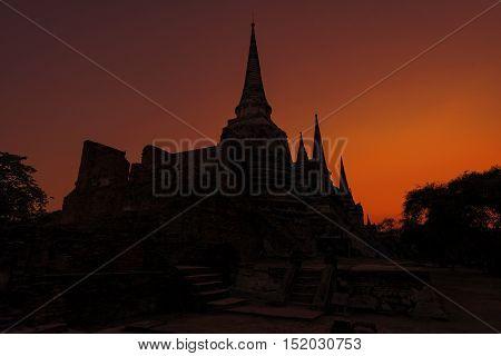 Amazing sunrise at Ayuttaya Temple ,travels Thailand.