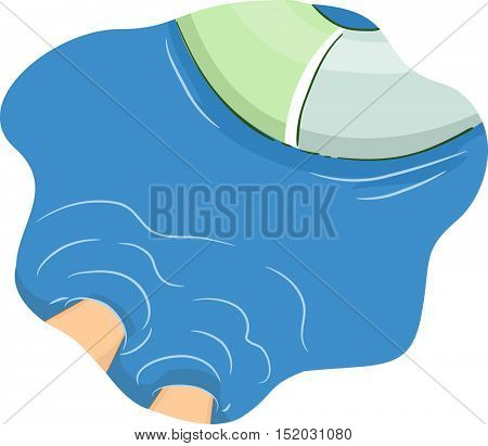 Cropped Illustration of a Man with His Feet Submerged in Deep Blue Waters