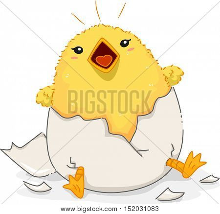 Illustration of a Cute Yellow Chick Peeping Loudly After Emerging from a Newly Hatched Egg