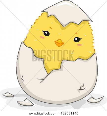 Illustration of a Cute Yellow Chick Quietly Emerging from a Newly Hatched Egg