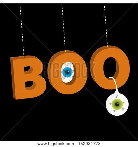 Hanging 3D word BOO text with blue green eyeballs. Dash line thread. Happy Halloween. Greeting card. Flat design. Black background. Vector illustration