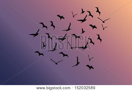 Vector Flock Of Flying Birds Towards Bright Sun