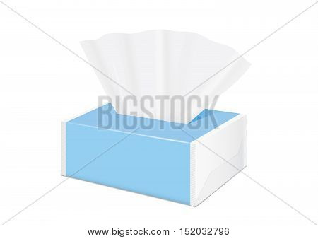 Blue Tissue soft pack by plastic wrap have blank label and no text for mock up packaging. Tissue paper show out of package.