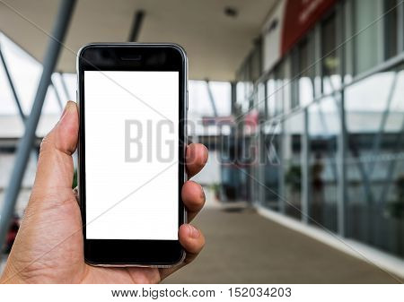 Close up of a man using smart phone with blank screen. Smart phone with blank screen and can be add your texts or others on smart phone.