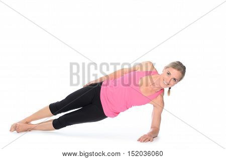 Beautiful Woman Doing Plank Abdominal Exercises