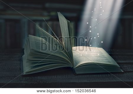 Opened Magic Book With Magic Light