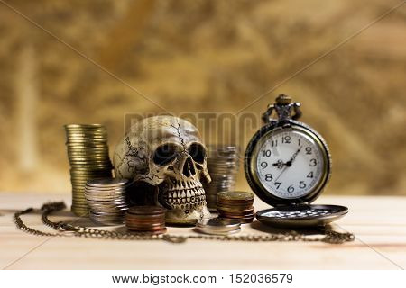 Human Skull ,pile Thai Coins Of One Bath On Wood Element Antique Clock Background.concept Of Financi