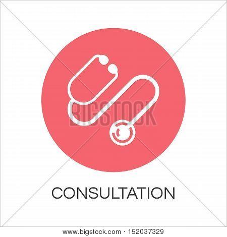 Stethoscope icon drawn in flat style. Label concept of medicine consultation. Simple round logo for button desing, websites or mobile apps. Vector contour graphics