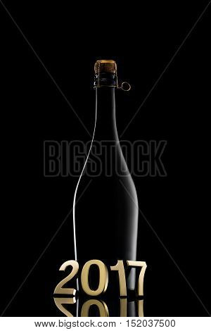 New Year Concept.champagne Wine Bottle 2017 On Black Background