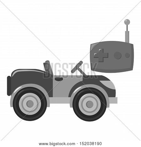 RC car icon in monochrome style isolated on white background. Play garden symbol vector illustration.
