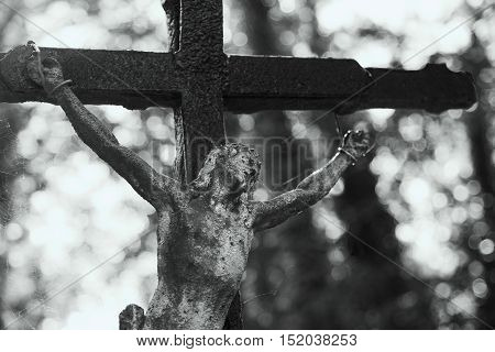 Holy cross with crucified Jesus Christ (religion faith holy sin)