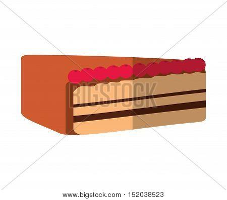 delicious cake portion sweet icon vector illustration design