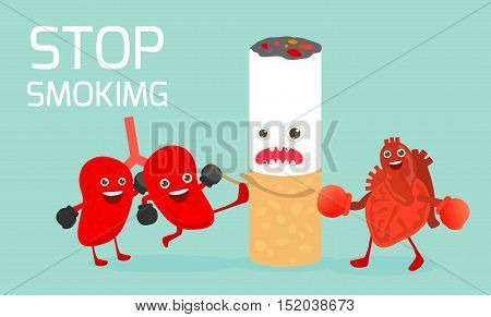 May 31st World no tobacco day,The lungs and heart and are fighting against smoking on Background.