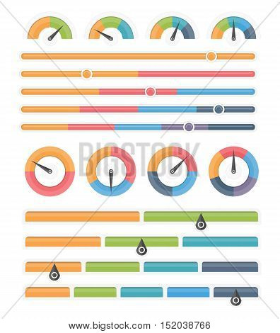 Round and horizontal indicators, gauges with different amount of sectors, infographic elements, vector eps10 illustration