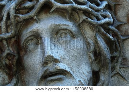Passion of Jesus Christ fragment of ancient statues (religion faith holy sin)