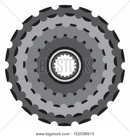 Bike metallic cogwheel, bicycle crankset cassette in flat vector style.