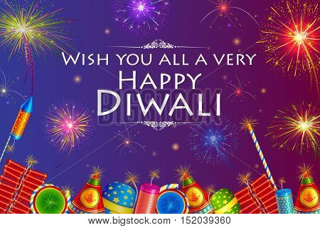 vector illustration of colorful firecracker with firework background for Happy Diwali holiday of India