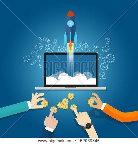money funding startup financial technology fin-tech vector