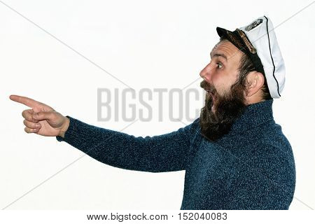 beard sailor man in a hat cap isolated