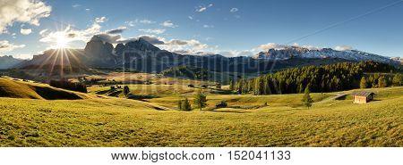 Alps sunrise green mountain panorama landscape Alpe di Siusi