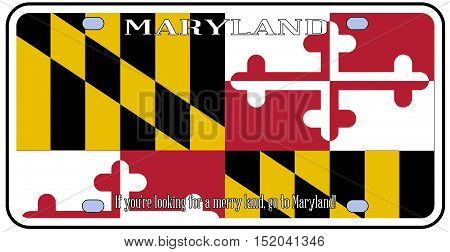 Maryland state license plate in the colors of the state flag with the flag icons over a white background