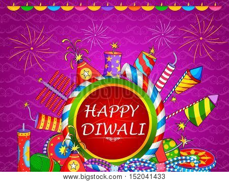 vector illustration of colorful fire cracker for Happy Diwali holiday of India