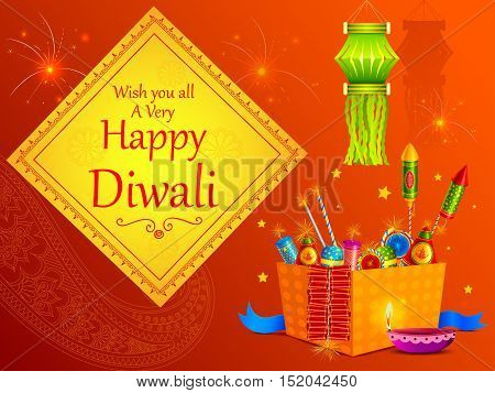 vector illustration of colorful fire cracker with decorated diya for Happy Diwali holiday of India