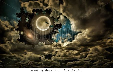Full moon, clouds like a puzzle  Some elements provided courtesy of NASA 3D Render