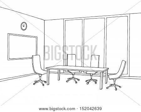 Office meeting room interior black white graphic art sketch illustration vector