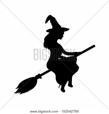 Young witch flying on a broomstick silhouette on a white background. ghost woman vector illustration