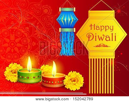 vector illustration of colorful hanging kandil lantern with diya for Happy Diwali holiday of India