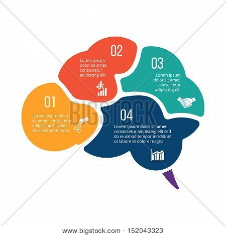 Vector illustration of business infographic with brain. Can be used for workflow layout, diagram, 4 options, step up options, web design, infographics