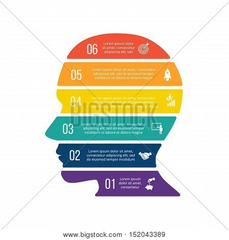 Vector illustration of business infographic with human head. Can be used for workflow layout, diagram, 6 options, step up options, web design, infographics