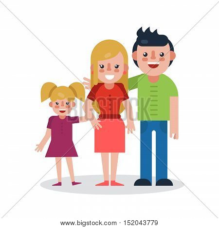 Young parents flat vector illustration. Young family on white background. Mother, father and daughter flat illustration. Family vector. Parents with child.