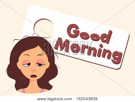Good Morning Title. Sleepy Cartoon Character. Vector Illustration
