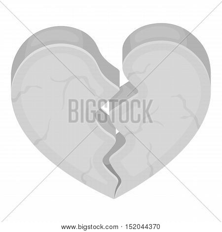 Heart icon in monochrome style isolated on white background. Romantic symbol vector illustration.
