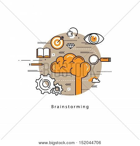 Brainstorming and analysis flat line business vector illustration design banner. Creative thinking process, education and research background. Design for learning, problem solving, trainings, courses