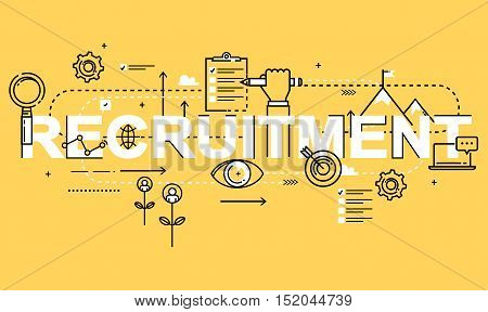 Word RECRUITMENT, line flat vector business design for job candidate evaluation, interviewing, assessment, recruiting. Resources and corporate management, hiring, employment, freelance, career concept