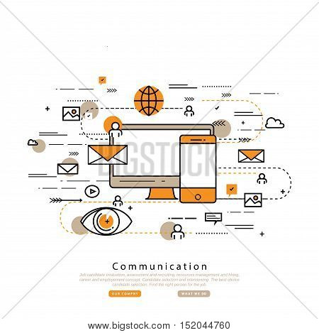 Flat line business vector illustration design for online social media marketing campaign, digital promotion. Internet, web advertising background. Strategic marketing infographic elements, web banners