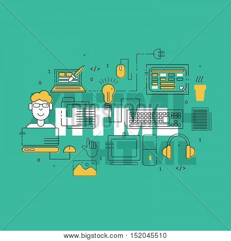 HTML coder creative banner. Colorful HTML line icons composition. Vector illustrations for business, corporate design, computer store.