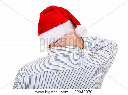 Man in Santa Hat feel Neckache Isolated on the White Background