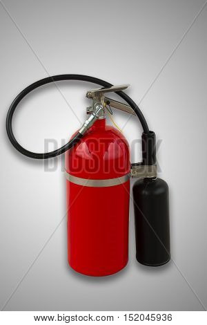 Fire extinguisher tools Fire extinguisher equipment on isolation white background.