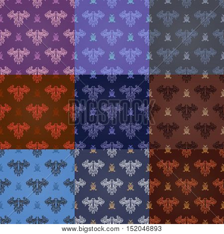 Set Of Nine Seamless Elegant Patterns