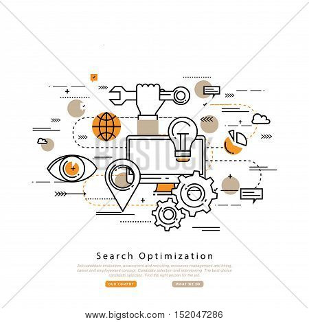 Search engine optimization flat line business vector illustration design banner, SEO background. Application development, web site coding, internet searching optimization, mobile technologies concept
