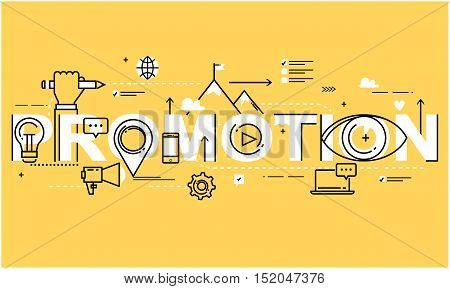 Flat line business vector illustration design for online social media marketing campaign, digital promotion. Internet, web advertising background. Strategic marketing infographic elements, web banner