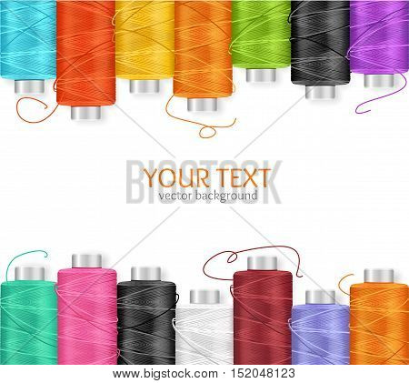 Thread Spool Banner Row Border with Place for Your Text.. Vector illustration