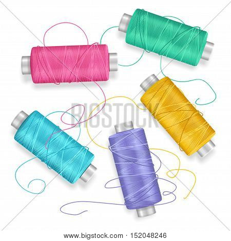 Thread Spool Set Background for Needlework and Needlecraft. Vector illustration